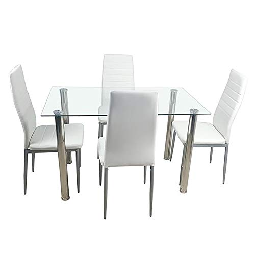 Moonwind 5 Dining Table Sets 110 cm Tempered Glass Top Dining Table and 4 Leather Chairs White