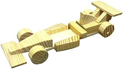 YOU Build Real Wooden RACE CAR Fun Toy Wood Shop Model Kit Arts//Crafts w//Glue