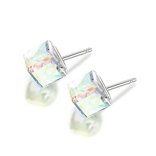 LESA MICHELE Prism Cube Earrings for Women in Stainless Steel made with Swarovski Crystals (Aurora Boreale) Cube Swarovski Austrian Crystal