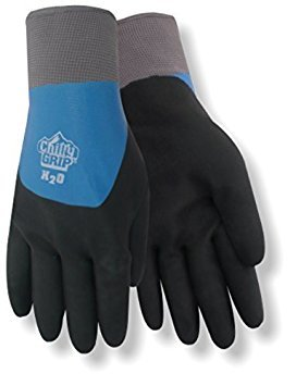 Red Steer A323-L Chilly Grip H2O Waterproof Thermal-Lined Full-Fingered Work & General Purpose Gloves, Nitrile Overdip Coating, Blue/Black, Large [PRICE is per - Grip Chilly