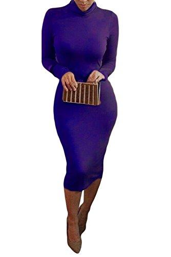 Bess Bridal Women Turtleneck Long Sleeve Stretch Christmas Party Club Midi Dress,XX-Large,Blue -