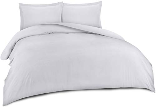 Utopia Bedding 3-Piece Duvet Cover Set with 2 Pillow Shams- Soft Brushed Microfiber Fabric- Wrinkle, Shrinkage and Fade Resistant-Easy Care (Queen, White)