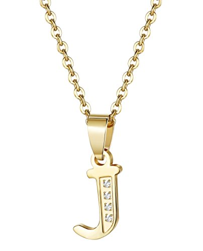 Udalyn Stainless Steel Alphabet Pendent Necklace CZ Chain For Men Women Gold-tone J (Gold Pendent Set)