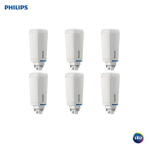 Philips LED 535377 Dimmable Energy Saver PL-C/T Light Bulb: 1200-Lumen, 2700-Kelvin, 10.5 (26-Watt Equivalent), 4-Pin G24Q/GX24Q Base, Frosted, Soft White, 6-Pack, Piece ()