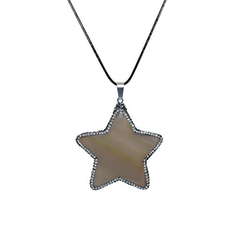 Dark Queen Of Hearts Costumes Uk (ART KIM Agate with Edges Rhinetone by Hand Star Gemstone Pendant Necklaces (Gray))