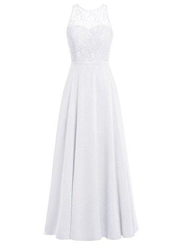 Promi Damen Weiß Elegant Carnivalprom Abendkleider Kleider Rückenfrei Chiffon Lang qA17qdWE