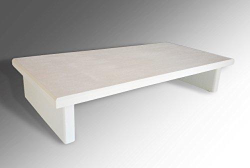 Monitor Stand P3/4WF24-4 Pine White Flat 24 x 11.5 x 4.75 TV Wood Shelf Riser Furniture Desk Assembled Made in USA NEW (Pine Tv Riser Stand)