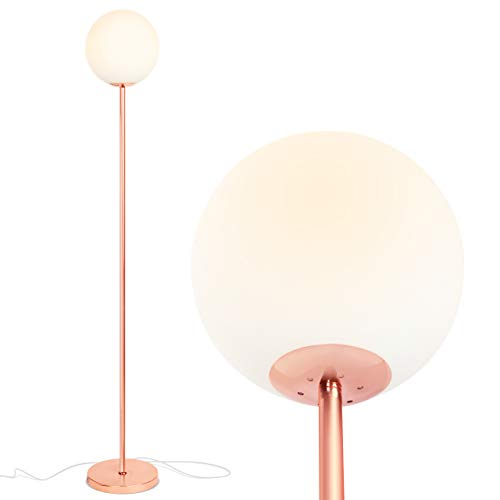 Brightech Luna - Frosted Glass Globe LED Floor Lamp - Mid Century Modern, Standing Lamp for Living Rooms - Tall Pole Light for Bedroom & Office - with LED Bulb - Rose Gold ()
