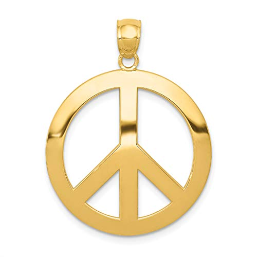 14k Yellow Gold Polished Peace Symbol Pendant 30x25mm