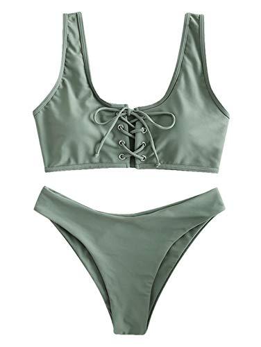 450fbfd3ec ZAFUL Womens Scoop Neck Lace Up Bikini Set Padded Two Piece Swimsuit  Bathing Suit