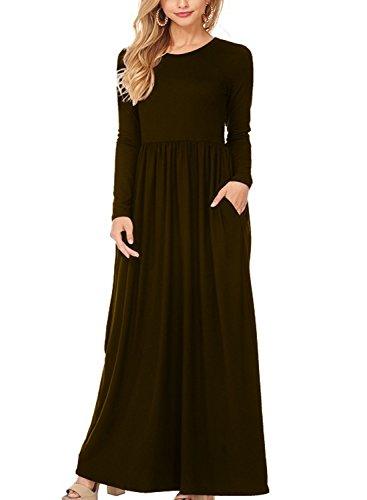 Women Long Sleeve Cotton Linen Casual Long Maxi Kaftan Hippie Dress - 2