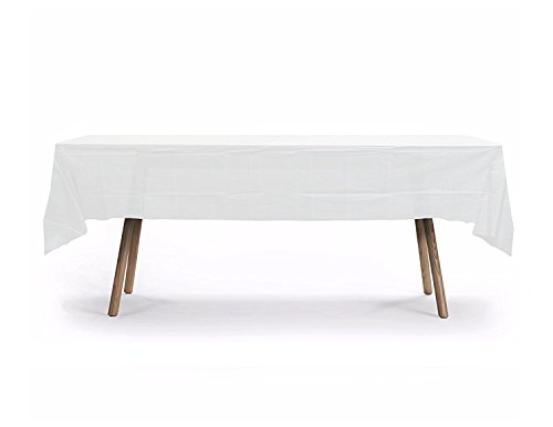 10 PACK Rectangular Heavy Duty Table Cover, Premium Plastic Tablecloth, Plastic Table Cover Reusable (White)