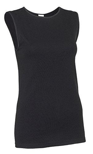 Rosette Woman's Cotton Sleeveless Undershirt, Smooth and Seamless Tank Top, Medium, Black