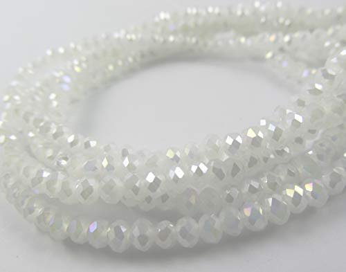 BeadsOne 6mm - 500 pcs - Glass Rondelle Faceted Beads White Ceramic AB White for jewerly making findings handmade jewerly briolette loose beads spacer donut faceted Top Quality 5040 (AB C43) ()