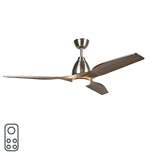 Qazqa Modern Ceiling Fan With Light And Remote Control