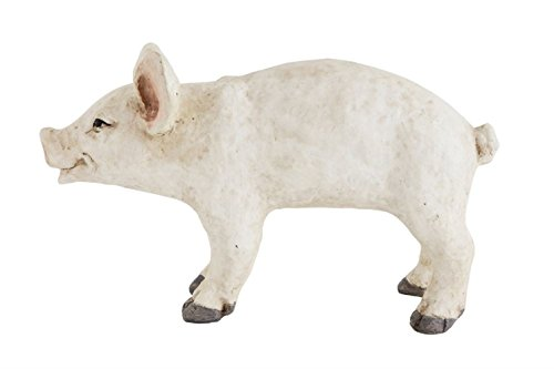 Creative Co-Op Decorative Resin Pig - Off White, Cream Color - 16-1/2
