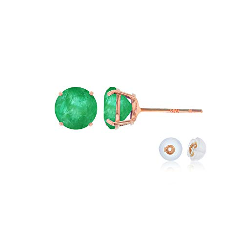 Genuine 14K Solid Rose Gold 4mm Round Natural Green Emerald May Birthstone Stud Earrings