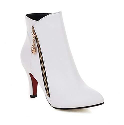 231da6f57 SUNNY Store Women Dressy Kitten Heel Side Zipper Ankle Boots Pointed Toe  Booties Shoes(White