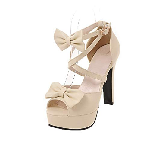 High Beige Solid VogueZone009 Pu Buckle Open Heels Toe Sandals CCALP015115 Women's qYYAx7