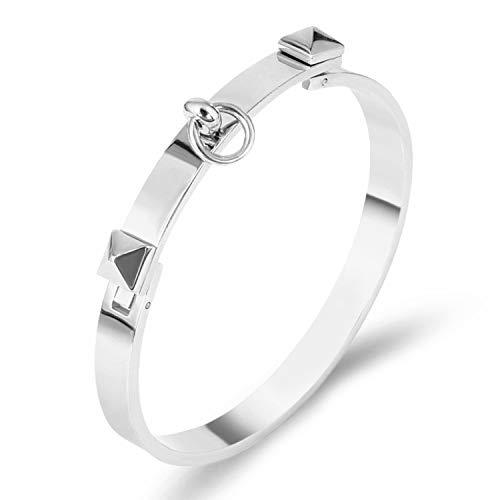 Designer Inspired Titanium Steel Dual Pyramid Cuff Bracelet Bangle (Silver)