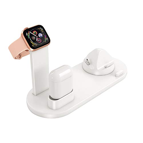 Plastic Link Band - SAQIMA Charger Holder for iPhone for Apple Watch for Airpods 3 in 1 Charging Stand Dock Station Durable Charger Stand (White)