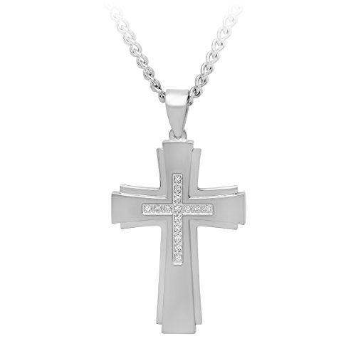 "Men's Stainless Steel .15ctw Diamond Stacked Cross Pendant with Curb Chain Necklace, 24"" (Diamond Mens Jewelry)"