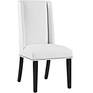 Modway MO- Baron Modern Tall Back Wood Faux Leather Upholstered, Dining Chair, White