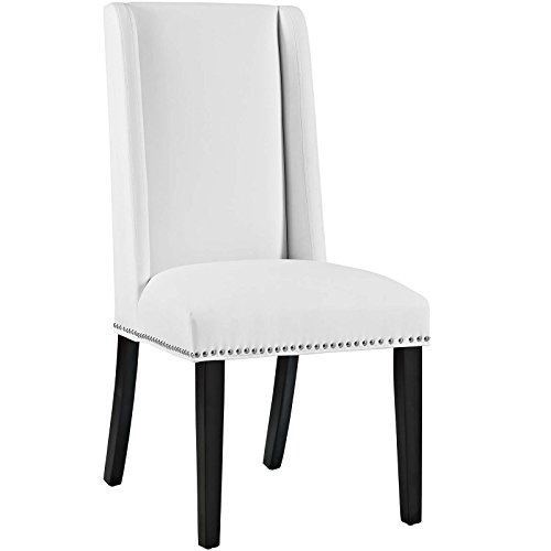 Modway Baron Upholstered Vinyl Modern Tall Back Parsons Dining Chair With Nailhead Trim And Wood Legs In White