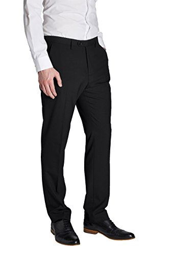 next Homme Pantalon sans pinces Noir Élastique 28 / Regular - Slim Fit