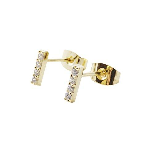 24 Ct Gold Jewellery - HONEYCAT Crystal Drop Bar Stud Earrings in 24k Gold Plate | Minimalist, Delicate Jewelry
