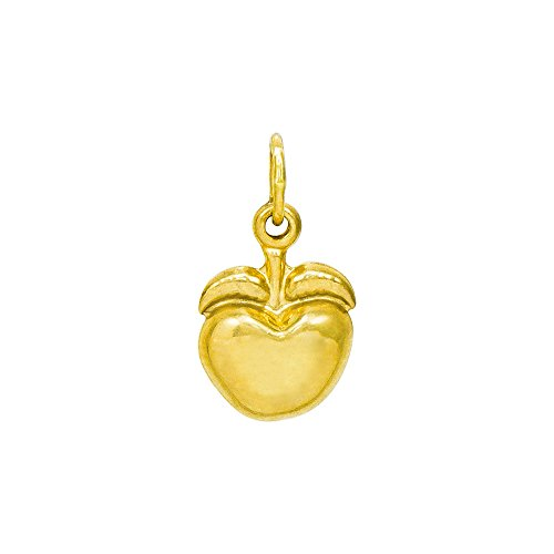 (Pyramid Jewelry 14K Yellow Gold Apple Charm Pendant, 0.56 Inches)