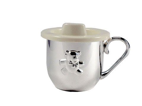 BABY CUP WITH SIPPER LID - BABY CUP W/ SIPPER LID, SILVER PLATED (Silver Baby Cup With Lid)