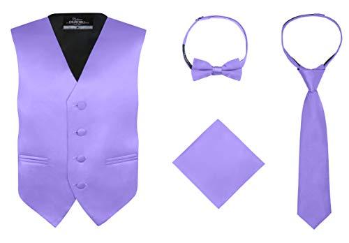 S.H. Churchill & Co. Boy's 4 Piece Vest Set, with Bow Tie, Neck Tie & Pocket Hankie, Purple Size -