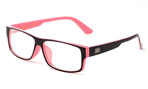 Newbee Fashion - Kayden Retro Unisex Plastic Fashion Clear Lens Glasses Black/Rose