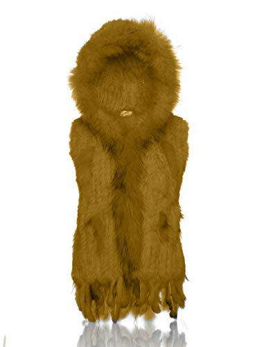 HEIZZI Capuche 100% Vritable Lapin tricote pais Gilet de Fourrure Douce et Chaude Goldenrod