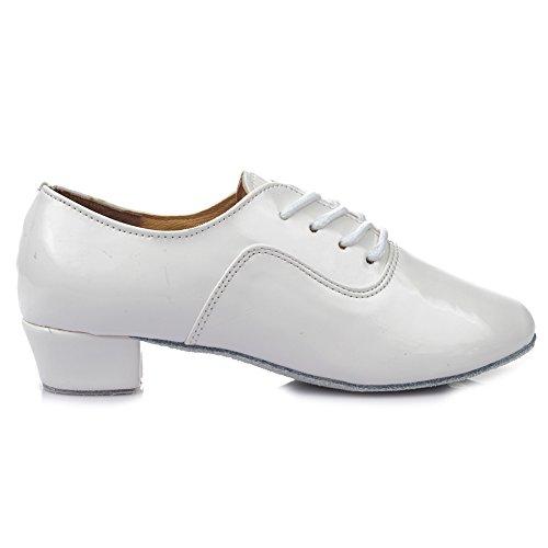 Scarpe Da Ballo Da Uomo Latino Pelle Roymall Professionale Ballroom Jazz Tango Waltz Performance Shoes White-2