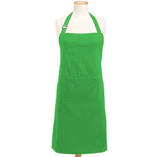 DII 100% Cotton, Colorful Unisex Bib Chef Kitchen Apron, Adjustable Neck & Waist Ties, Front Pocket, Durable, Comfortable, Perfect for Cooking, Baking, BBQ- Neon - Tie Apron