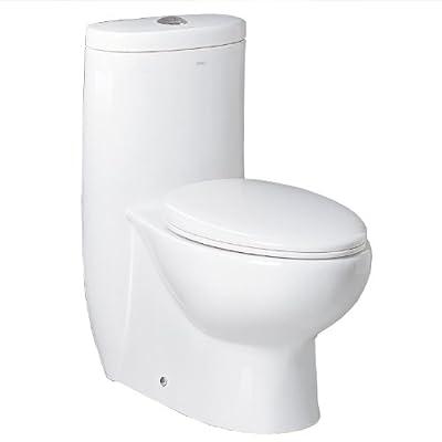 Ariel Bath Hermes Contemporary Elongated One Piece Toilet, White