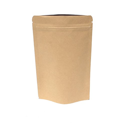 AwePackage Heavy Duty Kraft Paper Self Standing Resealable Zipper Pouch Bags (1 oz- 16 oz) - FDA and USDA compliant (100, 5 Oz)