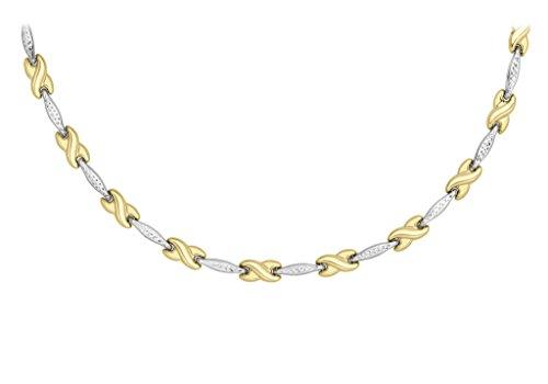 9ct or 2couleurs Barre de coupe diamant et Kisses Collier 43cm/17'