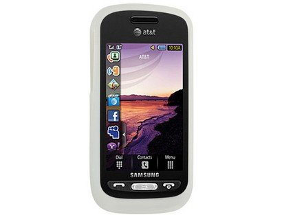 (White Gel Skin Protector Case Soft Rubberized Silicone Cover for Samsung? Solstice SGH-A887)