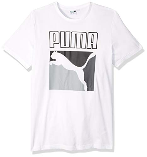 (PUMA Men's Graphic Box Logo TEE, White, XX-Large)