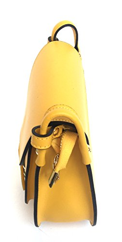 SUPERFLYBAGS Borsa Tracolla Donna Vera Pelle con Pattina modello Francesca Made In Italy Giallo