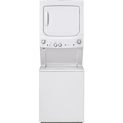 Image of GE GUD27ESSMWW Unitized Spacemaker 3.8 Washer with Stainless Steel Basket and 5.9 Cu. Ft. Capacity Electric Dryer, White
