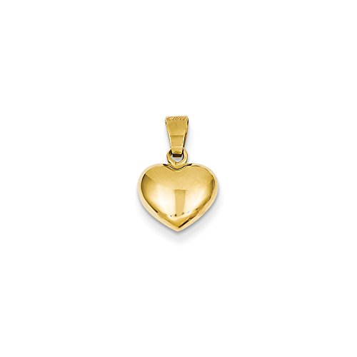 Solid 14k Yellow Gold Puffed Love Plain Heart Charm Pendant Pendant (15mm x ()