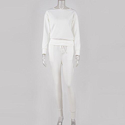 Automne Hiver Sweat Outwear Sportwear Jacket Ensembles Sweat pantalon Survêtement shirt Pantalons Casual Reaso Blanc 2pcs Rond Col Costume Blouson Jogging Femmes IPw0Kgq8