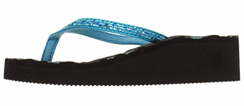 Capelli New York Girls Crunchy Glitter & Metallic Faux Leather Thong Fashion Flip Flops With Peace Signs Black Combo 3/4 ()