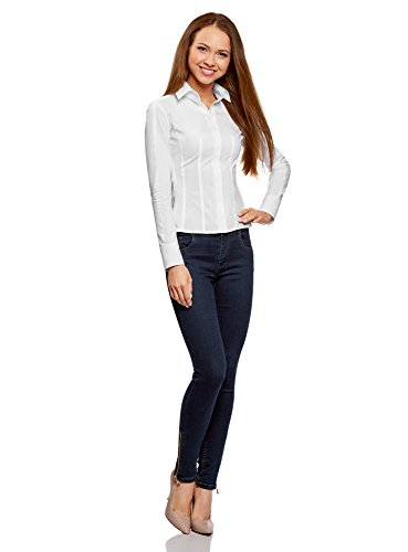 Blanc Femme Coupe Collection Chemisier Cintre oodji 1000n Coton en PfAwBWFq