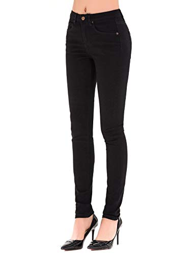 HONTOUTE Women's Solid Color High Waist Casual Super Stretch Skinny Jeans Pants (28, Black) (Black Womens Jeans)