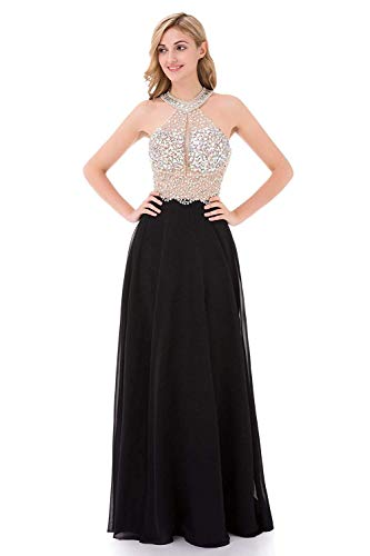 YuNuo Sparkly Crystal Beading Prom Dresses Long 2019 Sexy Open Back Party Ball Gown Scoop Bridesmaid Dresses Black-US4